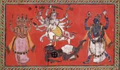 Shiva Performing The Dance Of Bliss While Vishnu And Brahma Provide Musical Accompaniment
