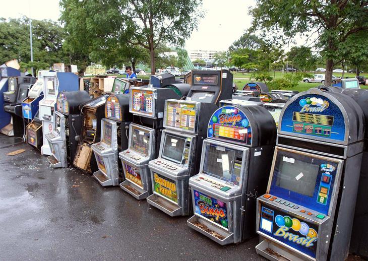 Slot Machines Being Destroyed